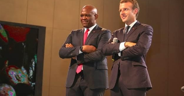 President of the French Republic, Emmanuel Macron and founder, Tony Elumelu Foundation and chairman of UBA Group, Tony O. Elumelu.