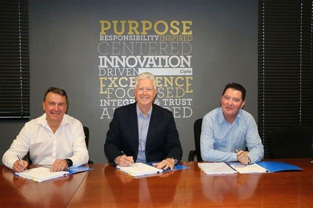 Malcolm Blane, CFO of Mirren; Paul Miller, CEO of Cipla SA; Lynton Lomas, Director of Mirren