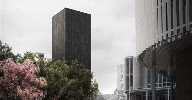 Grenfell Tower reimagined as monolithic black concrete memorial