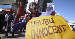 A supporter of Uhuru Kenyatta after the Kenyan president's ICC charges were dropped in December, 2014. Daniel Irungu/EPA