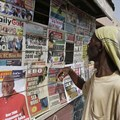 A newsstand in Ghana's capital, Accra, in 2016. Attackers abducted and beat a reporter for the Ghana News Agency on August 27 over his critical coverage of an opposition politician in Bawku. Credit: AP/Sunday Alamba/CPJ.
