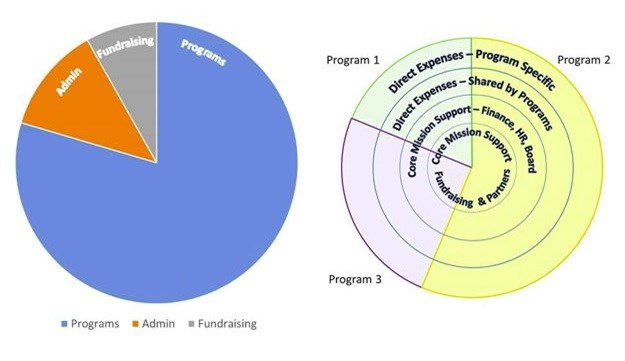 The traditional organisation pie chart (left) vs a new image for core organisation support (right). Source: