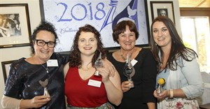 Winners image supplied. Left to right: 2018 Galliova Awards winners – Abigail Donnelly (Broiler Champion), Liezl Vermeulen (Up-and-Coming Food Writer), Salomé Delport (Health Writer), and Margie Els-Burger (Egg Champion). 2018 Galliova Food Writer Justine Kiggen (absent).