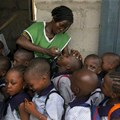 Nigerian children receiving the polio vaccine in Lagos. EPA