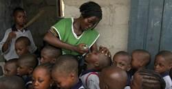 Nigerian children receiving the polio vaccine in Lagos. EPA