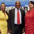 Tebogo Movundlela, CEO: Aurora WindPower, Thabane Zule director-general: Department of Energy and Brenda Martin, CEO: Sawea.