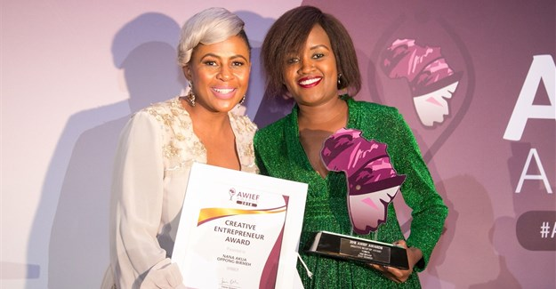 Basetsana Kumalo, Executive Chairman & CEO, Basetsana Woman Investment Holdings, South Africa, with the winner of the AWIEF Awards 2018 Creative Industries Award, Nana Akua Oppong-Birmeh, CEO of Archxenus, an architectural design company based in Accra, Ghana.