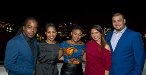 Open News anchors at their launch: news anchors Koketso Sachane and Naledi Moleo, social media anchor Ayanda Dlamini, Inge Isaacs from the weather desk, and sports anchor Adrian Botha.