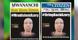 A screen shot from December 2017 displaying the front pages of Tanzanian newspapers Mwananchi and The Citizen, calling on the Tanzanian government to help find missing journalist Azory Gwanda.