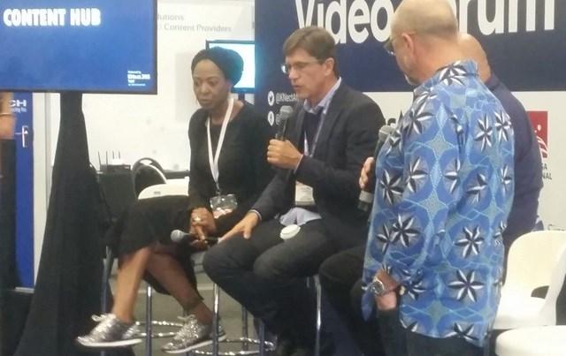 #AfricaCom 2018 (L-R): Biola Alabi, CEO BiolaAlabi Media and Duncan Irvine, founder & CEO of Rapid Blue.