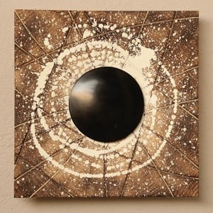 """Black Hole"" Acrylic, phosphorous, perspex and fire on wood"