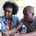 Orelie Kabeya and Exauce Kabeya with Wikifundi 2.0. Photographer: Isla Haddow-Flood.