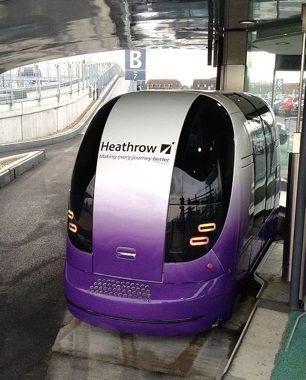 A 'Personal Rapid Transit' pod waiting for passengers at Heathrow Airport in England - ©Moshrunners/