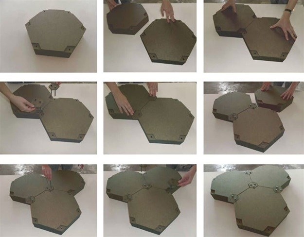 Retrieved plastic is converted into hexagonal pads – the floating park's foundations. Recycled Island Foundation, Author provided