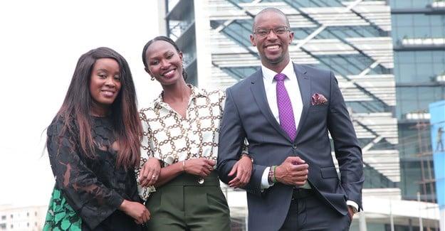Previous BBC Komla Dumor Award winners (L-R): Didi Akinyelure (2016), Nancy Kacungira (2015) and Waihiga Mwaura (2018).