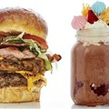 Gibson's fat-free apple, lime and mixed berries shake; Rolls Royce 'the ultimate' burger; and Red Velvet Neopolitan Freek shake.
