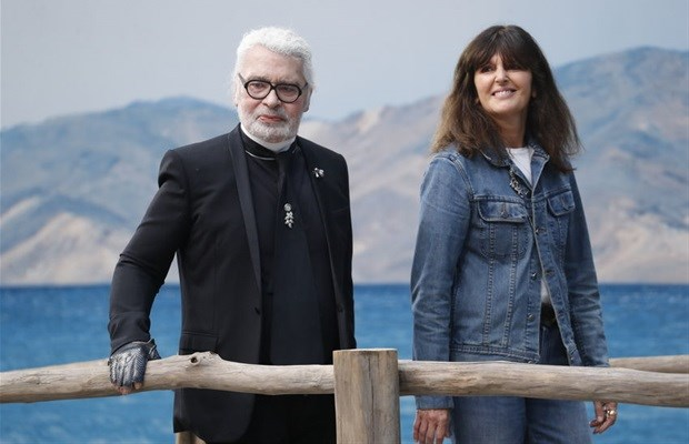 Karl Lagerfeld and Virginie Viard walk the runway after the Chanel show as part of the Paris Fashion Week Womenswear Spring/Summer 2019.