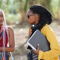 Kenyan filmmaker, Wanuri Kahiu, on the set of her film, Rafiki.