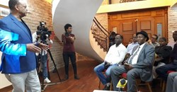 Ethiopian Negash Abdourahman, presents 'Cuba in Africa' at the Embassy of Cuba in Addis Ababa, Ethiopia.
