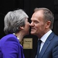 European Council president Donald Tusk visits Downing Street in 2018. EPA