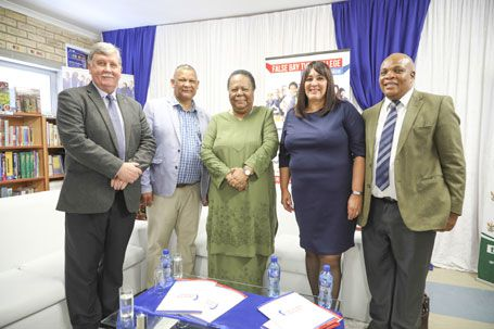 L-R: Mr Cassie Kruger, DHET Regional Manager; Mr Gregory Kannemeyer, Principal of Beaconhill High School; Minister for Higher Education and Training, Doctor Naledi Pandor; Ms Karin Hendricks, Acting Principal False Bay TVET College; Mr Maliviwe Lumka, Chief Director: Seta Coordination, DHET