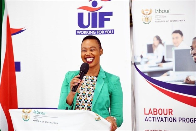 Communications Minister Stella Ndabeni-Abrahams speaking at the launch of the skills development programme.<br>Image: