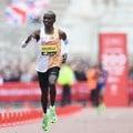 Kenya's Eliud Kipchoge on his way to wining the London Marathon in April 2019. EPA-EFE/Facundo Arrizabalaga