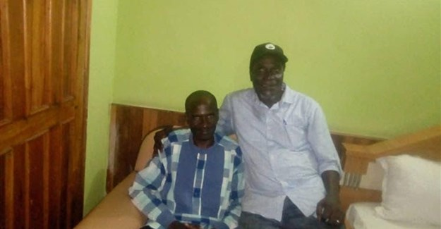 Nigerian journalist Jones Abiri, left, and Alagoa Morris, pictured in Abuja after Abiri's release from detention in 2018. A court on May 22, 2019 charged Abiri on three counts and ordered him detained. Credit: CPJ/Alagoa Morris.