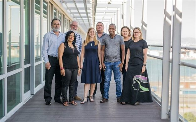 These are the defendants in defamation suits brought by Australian mining company MRC. From left to right: Cormac Cullinan, Davine Cloete, John GI Clarke, Tracey Davies, Riaan Oberholzer, Mzamo Dlamini, Tossie Beukes and Christine Reddell. The claims against Beukes, a journalist and Oberholzer, her publisher, have been dropped.