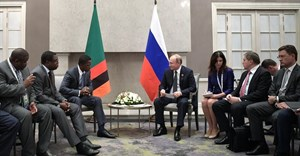 Russian President Vladimir Putin and Zambian President Edgar Lungu meet on the sidelines of the BRICS Summit in Johannesburg in 2018. EPA-EFE/Alexei NikolskySputnik/Kremlin Pool