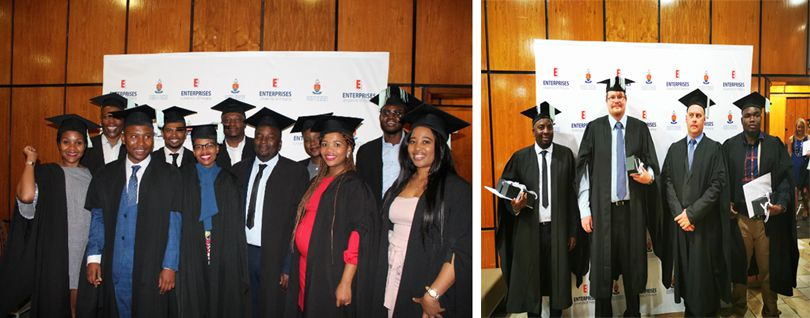 The certificate ceremony and celebration for delegates who successfully completed programmes presented by GSTM and GIBS at the CSIR International Convention Centre.