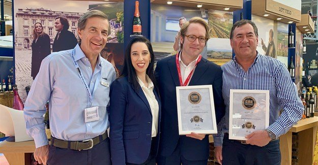 Hatch Mansfield CEO, Patrick McGrath; Sommelier Wine Awards' Micaela Martins Ferreira; director of Taittinger, Clovis Taittinger; and Kleine Zalze proprietor, Kobus Basson.