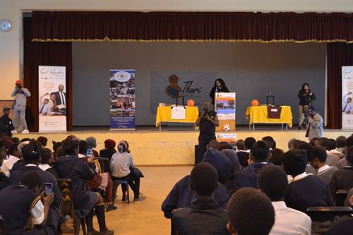 South African Actor, Julius Kgole addressing learners of eight schools in Botshabelo, Bloemfontein.