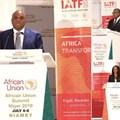 Afreximbank President Prof. Benedict Oramah, AU Trade Commissioner Amb. Albert Muchanga, and Rwanda Trade Minister Soraya Hakuziyaremye addressing guests at the launch of IATF2020 in Niamey.