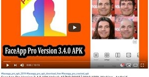 "A YouTube video claiming to offer a link for downloading the installation package (APK) for a ""FaceApp Pro"" application for Android"