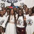 Naomi Campbell poses with female basketball players this week at the Hoop Forum organised by the SEED project in Senegal.