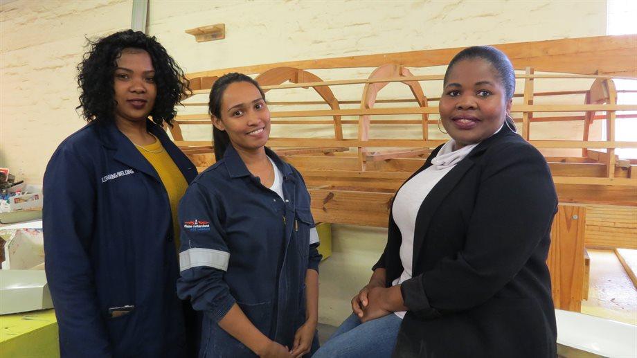 Lee-Anne Occupational Boilermaker / Welders lecturer at False Bay TVET College, Candra Pedro first female Trade Tested Shipbuilder in South Africa and Ndileka Ndzolo, False Bay TVET College Trade Test Coordinator