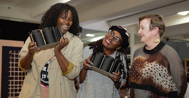SA Designers of The Year (from left) Thabisa Mjo, Mpho Vackier and 100% Design South Africa's creative director, Cathy O'Clery. Image supplied.