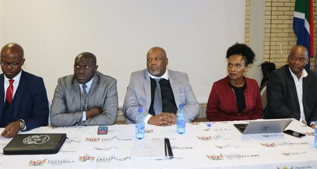 From L-R: Mr R Zwane, Saica Senior Executive: National Projects; Mr GD Fundile, MEC of the EC Department of Education; Mr T Kojana Deputy, Director-General: School Infrastructure Management; Ms T Futshane Chief Director: Institutional Management, Development & Governance; and Mr M Mancoko: Acting Director: Institutional Support and Governance