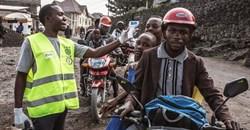A health worker checks people's temperatures in Goma, DRC. Patricia Martinez/EPA-EFE