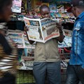 A newspaper stand is seen in Mwanza, Tanzania, on September 19, 2015. Tanzania is currently considering legal amendments that could negatively affect press freedom. Credit: CPJ/AFP/Daniel Hayduk.