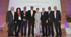 Dr Chris Archer, CEO of the South African Private Practitioners Forum; moderator, Tanya Cohen, former Business Unity South Africa CEO; Dr Guni Goolab, principal officer, Government Employee Medical Scheme (GEMS); Dr Terence Moodley, board member of Samed; Melanie da Costa, director of strategy and healthcare policy, Netcare; Dr Stavros Nicolaou, chairman of the Pharmaceutical Task Group Dr Anban Pillay, deputy director general, National Department of Health; and Dr Jonathan Broomberg, CEO, Discovery Health
