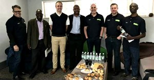 Pictured at the official opening are from left: Scott Smith (operations director, Van Dyck Floors Zimbabwe), Jonathan Pairemanzi (J. Link Carpets), Dr. Mehran Zarrebini (MD Van Dyck Floors), Louis Mudzongo (Classic Carpets), Dion Yatras (MD, Van Dyck Zimbabwe), Stuart Dearnaley (export manager, Van Dyck Floors) and Kuda Duri (account manager, Van Dyck Zimbabwe).