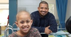 Mikah Saunders and her dad, Deon, in Red Cross Children's Hospital's new haemotology-oncology unit.