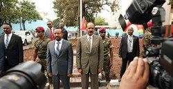 Eritrean President Isaias Afewerki and Ethiopian Prime Minister Abiy Ahmed during a ceremony marking the reopening of the Eritrean Embassy in Addis Ababa, Ethiopia, on July 16, 2018. A recent thawing of relations between the two countries did not lead to improved conditions for the media in Eritrea. Credit: CPJ/Reuters/Tiksa Negeri.