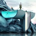 Antireality designs futuristic summer villa featuring infinity pool as water façade