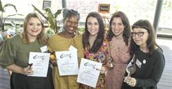 The 2019 Galliova Awards Winners: Esther Malan (2019 Galliova Broiler Champion Food Writer); Nomvuselelo Mncube (2019 Galliova Egg Champion Food Writer); Margie Els-Burger (2019 Galliova Food Writer of the Year; Chiara Turilli (2019 Galliova Up & Coming Food Writer of the Year); Glynis Horning (2019 Galliova Health Writer of the Year).