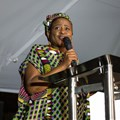 Mahlatse Mahlase delivering her speech at the Sanef Black Wednesday Dinner. Image credit: Sanef.