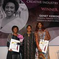 From L-R: Creative Industry Award winner Genet Kebede from Paradise Fashion (Ethiopia); Arunma Oteh, Oxford University Academic Scholar, former vice president and treasurer, World Bank - who handed over the awards; and runner-up Abby Ikomi, House of Irawo (Nigeria).