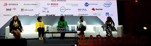 AfricaCom's emerging tech panel was moderated by Terryanne Chebet (far right), GM of Metropol TV and featured insights from Isabel dos Santos, chair of Unitel; Charlene Verzmoter, head of philanthropy at Microsoft; Juliet Ehimuan, country director of Google Nigeria; and Carole Wamuyu Wainaina, chief operating officer of Africa50.